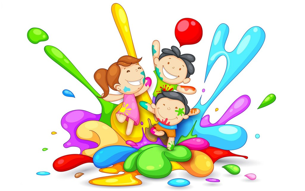 Lovely Anime Kids Playing Holi Wallpaper_3